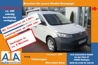 VW Caddy Cargo 2.0 TDIMJ2020 *Rd*GuBo*Kli*ML* Radio ''Composition Audio'' mit 6,5'' Touchdisplay, Trennwand (hoch) mit Fenster und Gitter, Heckflügeltüren mit Fenster, Gummibodenbelag im Laderaum, Klimaa
